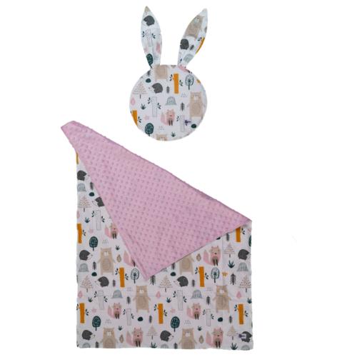 Babaágynemű szett -rózsaszín, két párnával és takaróval