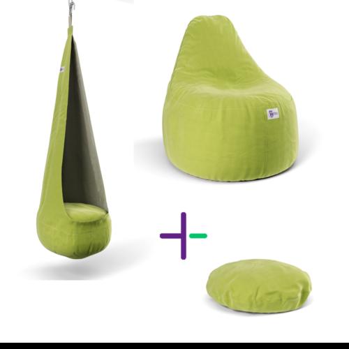 Zöld babzsák szett + ajándék Macaron párna
